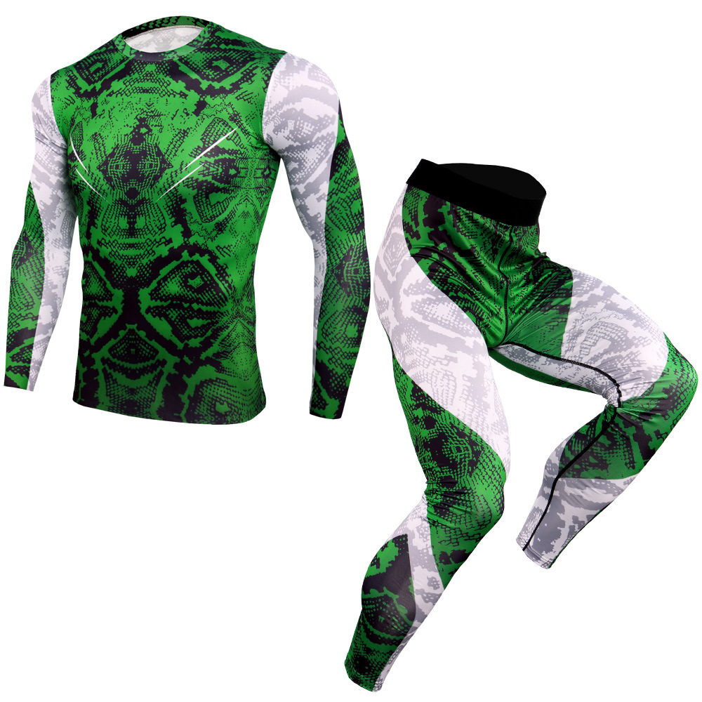 New Men Running Sport Compression Sets t shirt And Pants Suits Jogging Workout Set Male Gym Fitness Sportswear Leggings
