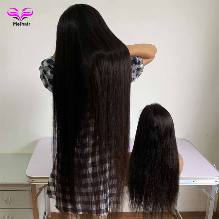 Cuticle aligned 40 inch Straight human lace wig transparent swiss hd lace wig full lace human hair wigs for black women