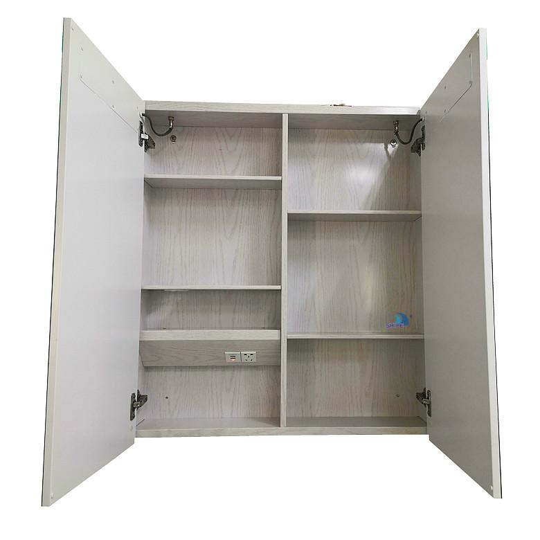 Заказной серебряный светодиодный Встроенный зеркальный шкаф из алюминиевого сплава для ванной комнаты