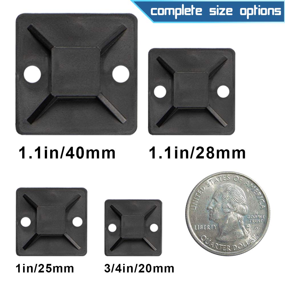 BAOTENG Cable Tie Mounting Base Self adhesive Nylon Cable Tie Mounts