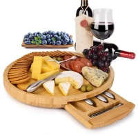 Bamboo Cheese Board Set Cheese Plate With Integrated Slide-Out Drawer Knife Set