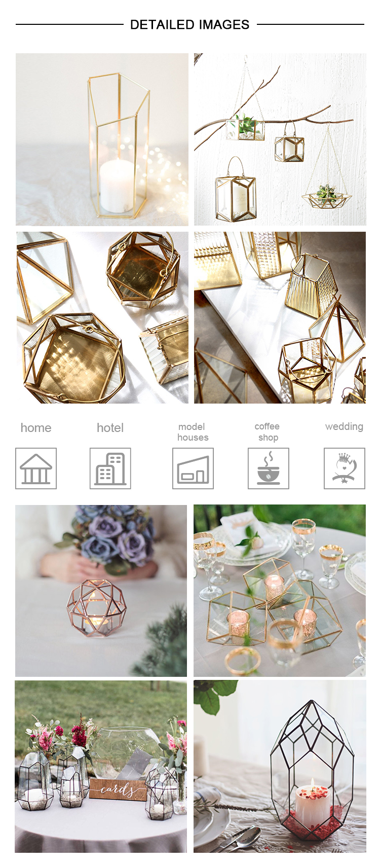 CH-1007 New style home decor square glass and gold lantern candle holder