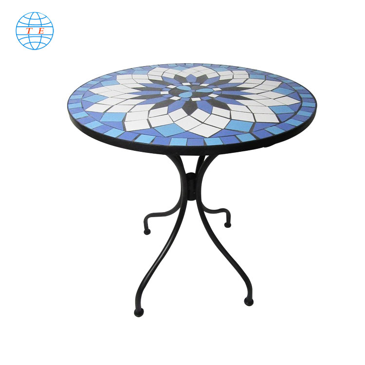 Patio furniture bistro garden metal mosaic table and chairs