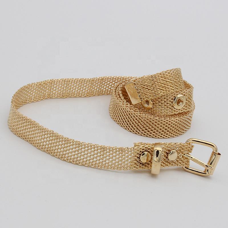 branded fashion gold metal waist belt for women/lady slim mesh belt waist belt