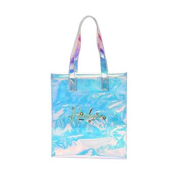 Low MOQ Logo /Size / Color Customized Printing Recycled Clear Hologram Pvc Tote Bag Holographic Colorful Shopping Bag