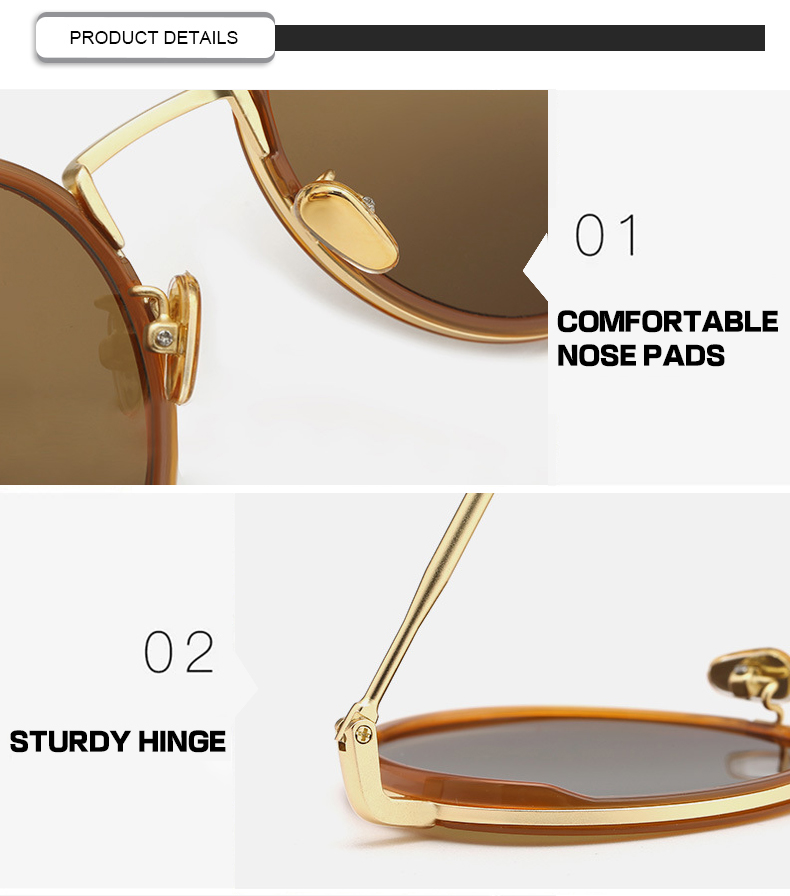 2019 Brand Designer rounded womens oversized vintage sunglasses with UV400 protection