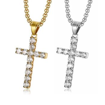 Wholesale Stainless Steel Jewelry Gold Crystal Cross Pendant Necklace