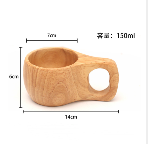 Customized logo hot sale coffee cup beach wooden with handle