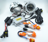 "Good Quality 3.0"" Bi_Xenon Hid Projector Lens Kits/Auto Xenon Hid Kit With Double Angel And Devil Eyes For Cars H4,H7,9005,9006"