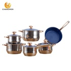Eco friendly customized cookware kitchenware 12 pieces italian stainless steel blue marble frypan cookware set