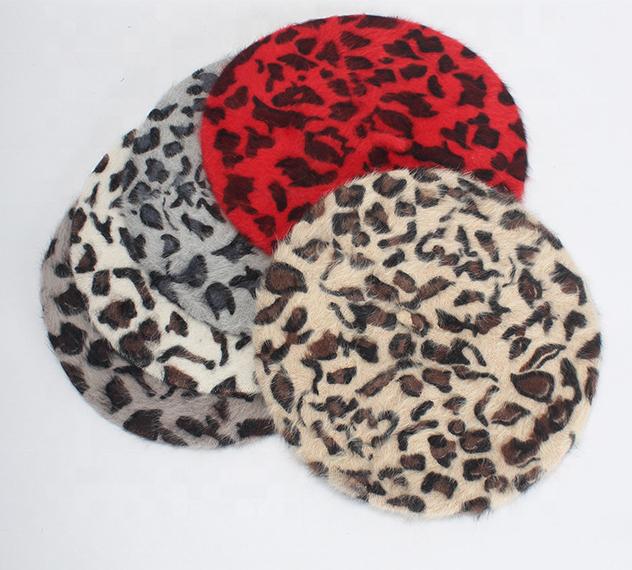 Female Winter Thick Warm  Rabbit Fur Leopard Print Berets Hat