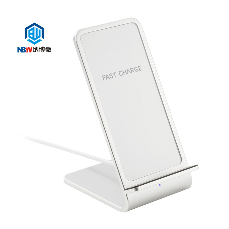 2019 New design aluminum alloy fast 10W wireless charging stand vertical mobile phone wireless charger pad with usb cable