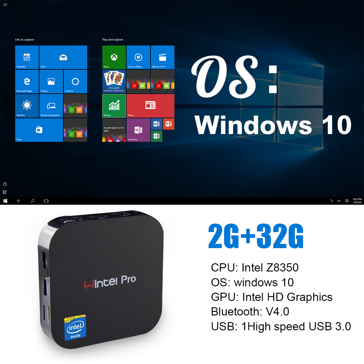 Xcy — Mini PC windows W8 Pro, Intel Z8350, 2 go/32 go, bluetooth 2.4GHz, usb, wi-fi, processeur Intel, bon marché