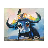 Cute Wall Art Picture Cartoon Animal Water Buffalo Canvas Oil Painting for Kids Room