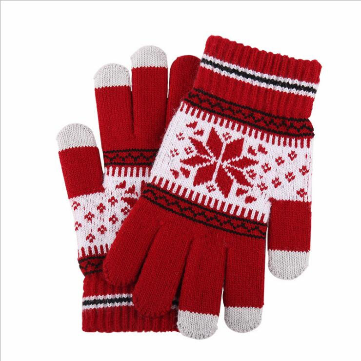 wholesale acrylic snowflake plush thick warm touch screen gloves