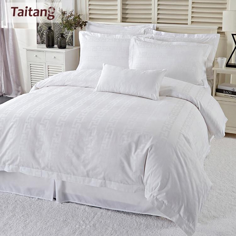 Taitang 호텔 제품 도매 럭셔리 화이트 침구 퀸 자카드 이불 세트 호텔