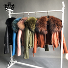 Real Sheepskin leather Jacket women real raccoon fur coat winter fur coat Women leather jacket