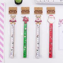 1 шт./лот, деревянные измерительные прямые линейки в Корейском стиле, Санта-клоун, кактус, линейка для рисования, Канцтовары, школьные принад...(Китай)