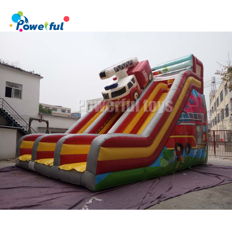 Cartoon theme kids inflatable dry jumping bouncy slide