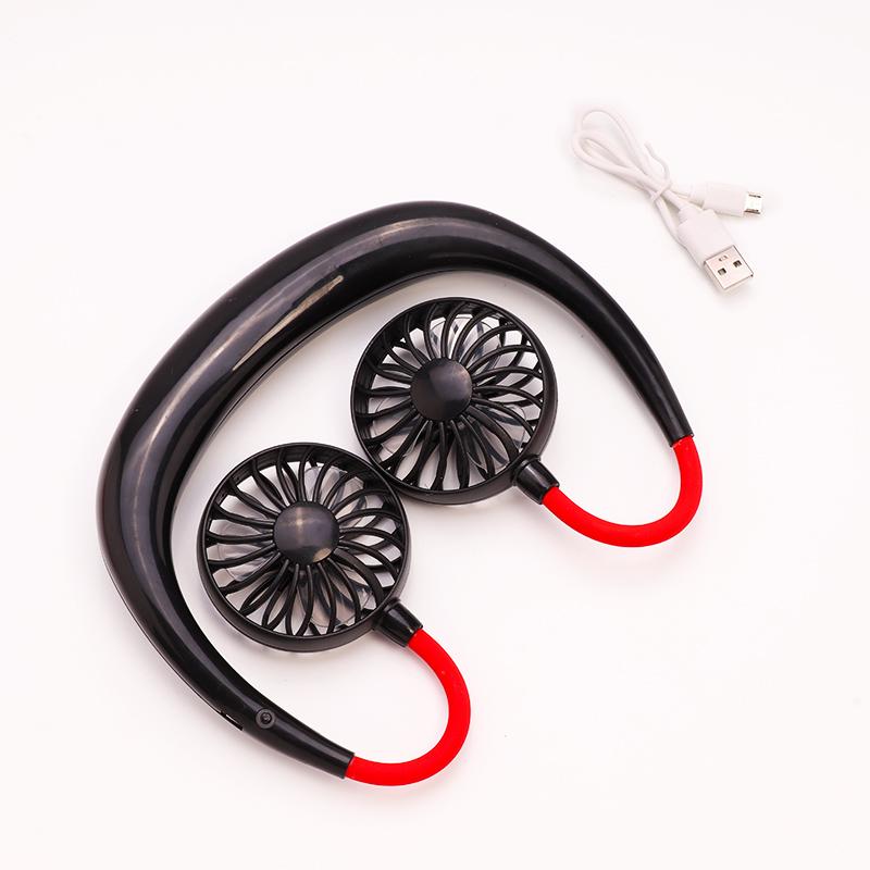 1Pcs Portable Fan Mini Hand-free Neck Hanging Fan USB Chargeable Wireless Fan With Dual Wind Head 3 Adjustable Speed Level