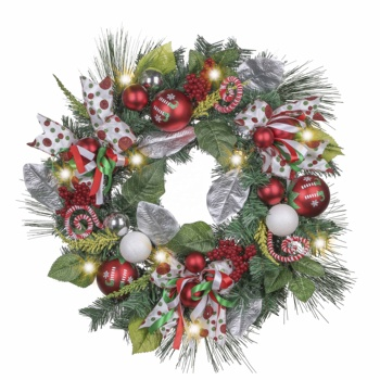 EAGLEGIFTS 24inch hand made christmas outdoor wreath decorations with LED light