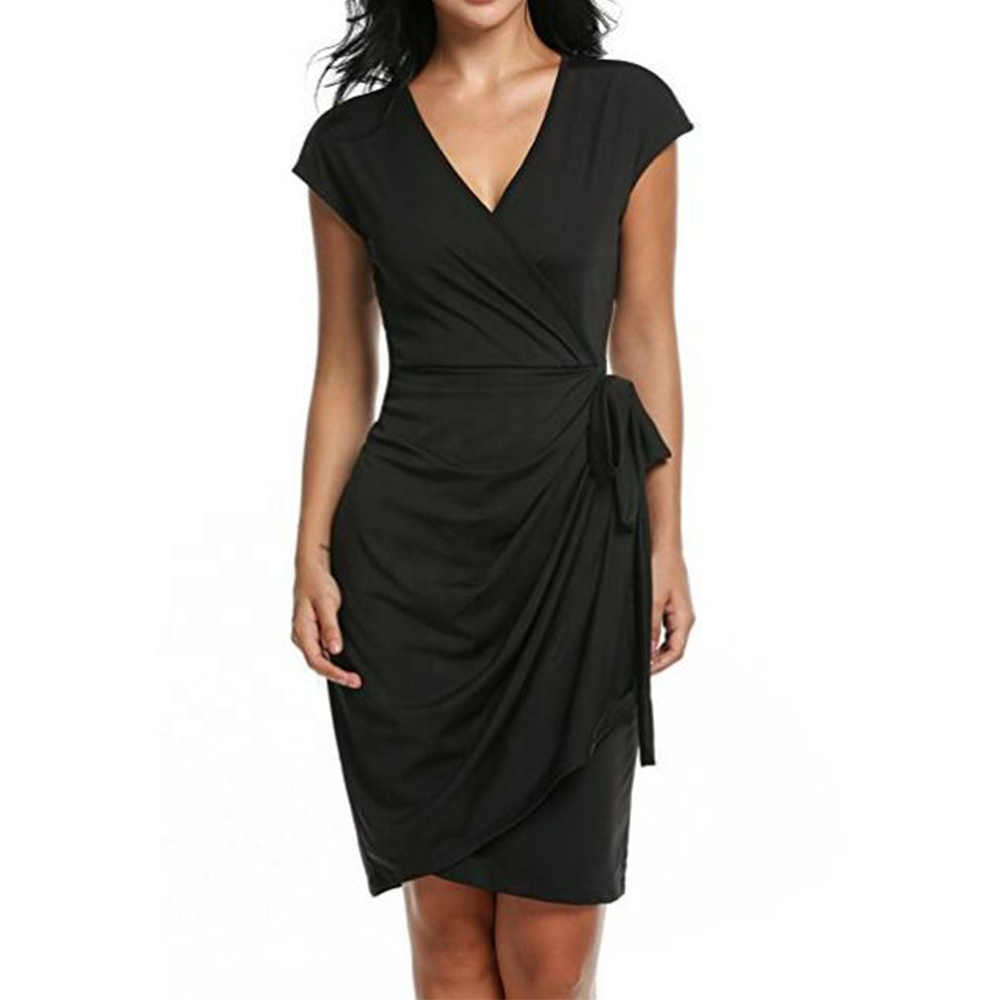 Women's Summer Vintage Sleeveless V-Neck Sheath Casual Party Work <strong>Faux</strong> Black Lady <strong>Wrap</strong> Dress