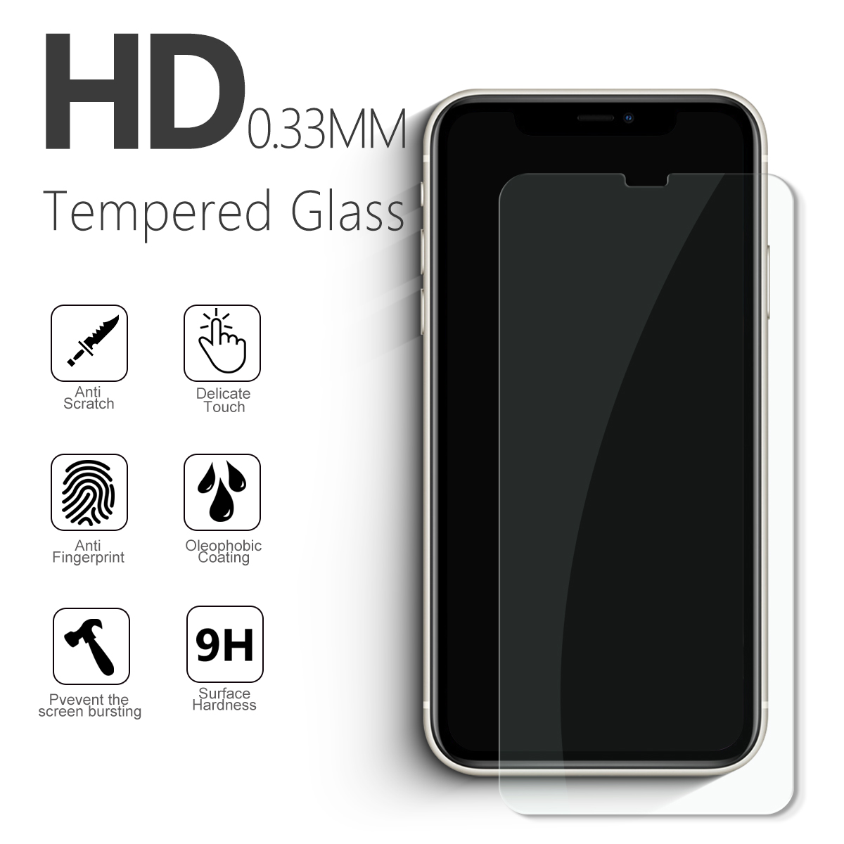 2.5D Screen Protector Wholesale For Apple iPhone 11 X/XS Mobile Phone 9H Transparent Tempered Glass Screen Protector