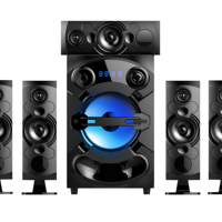 "A302 -Home theater 8"" super bass speaker system, the subwoofer and satellites with LED lights."