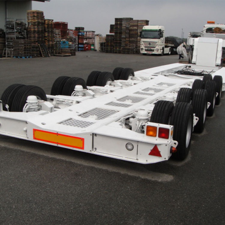 China zware 4 assen 70ton vervoer Lage Bed Container Lage Flatbed trailer semi truck