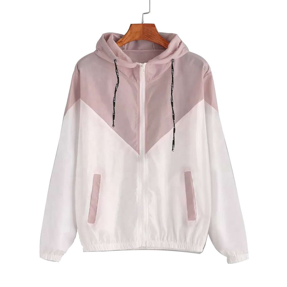 2019 New Fashion Women Plus Size Sport Coat Hooded Thin Windbreaker Jacket