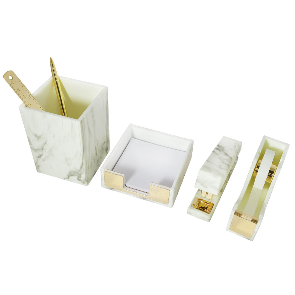 Office desktop stationery organizer with Gold+Marble White stationery set