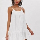 OEM manufacturer ladies fancy short summer dress lace insert beach dress in white