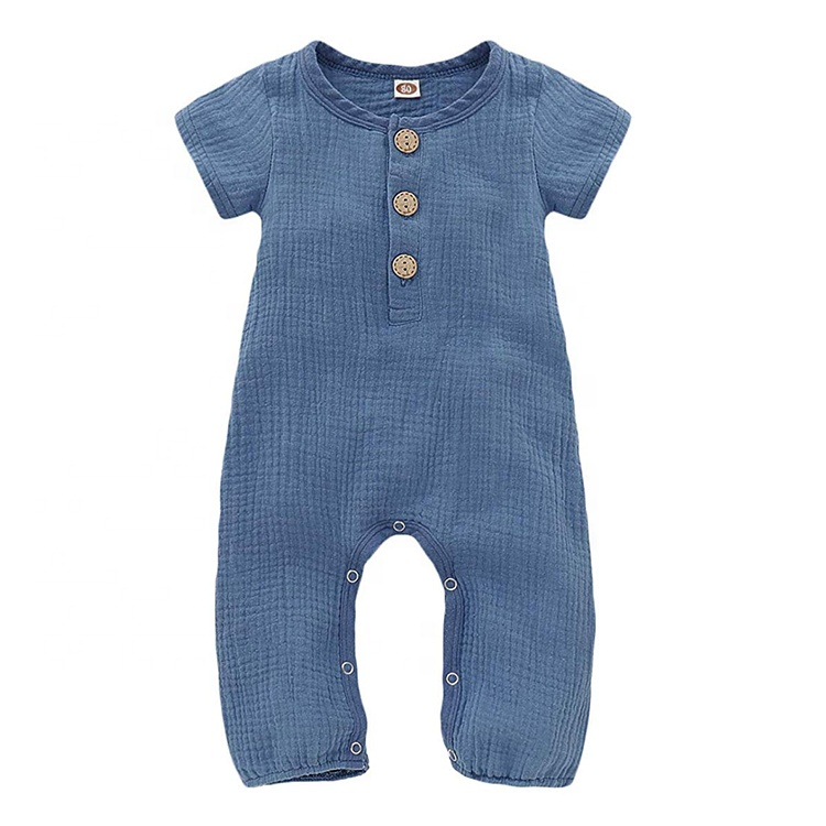 <strong>Baby</strong> Solid Color <strong>Jumpsuit</strong> 100% cotton with Button Kids Short Sleeve <strong>baby</strong> rompers