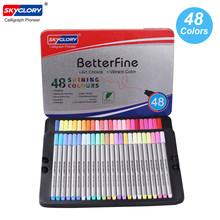 Цветные ручки Fineliner 0,4 мм, набор маркеров с тонкими наконечниками, металлический чехол для хранения, для журналов, планировщиков, Раскрашива...(Китай)