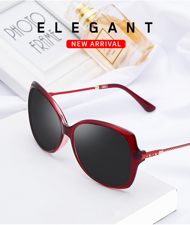 Fashionable Diamond Polarized Oversized Custom Logo Women Sunglasses