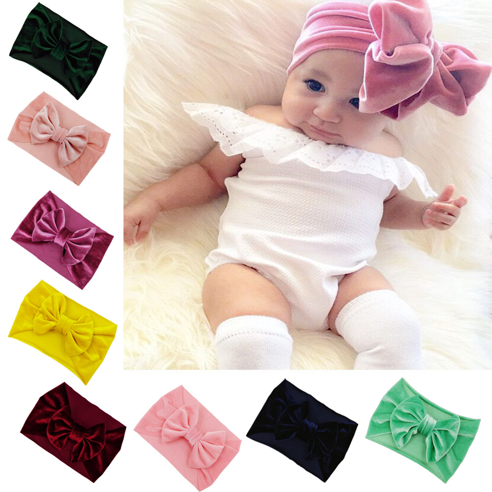 2020 Winter New Design Solid Stretchy Velvet Big Bow Wide Headwraps Children Newborns Infants Headband For Baby Wholesale