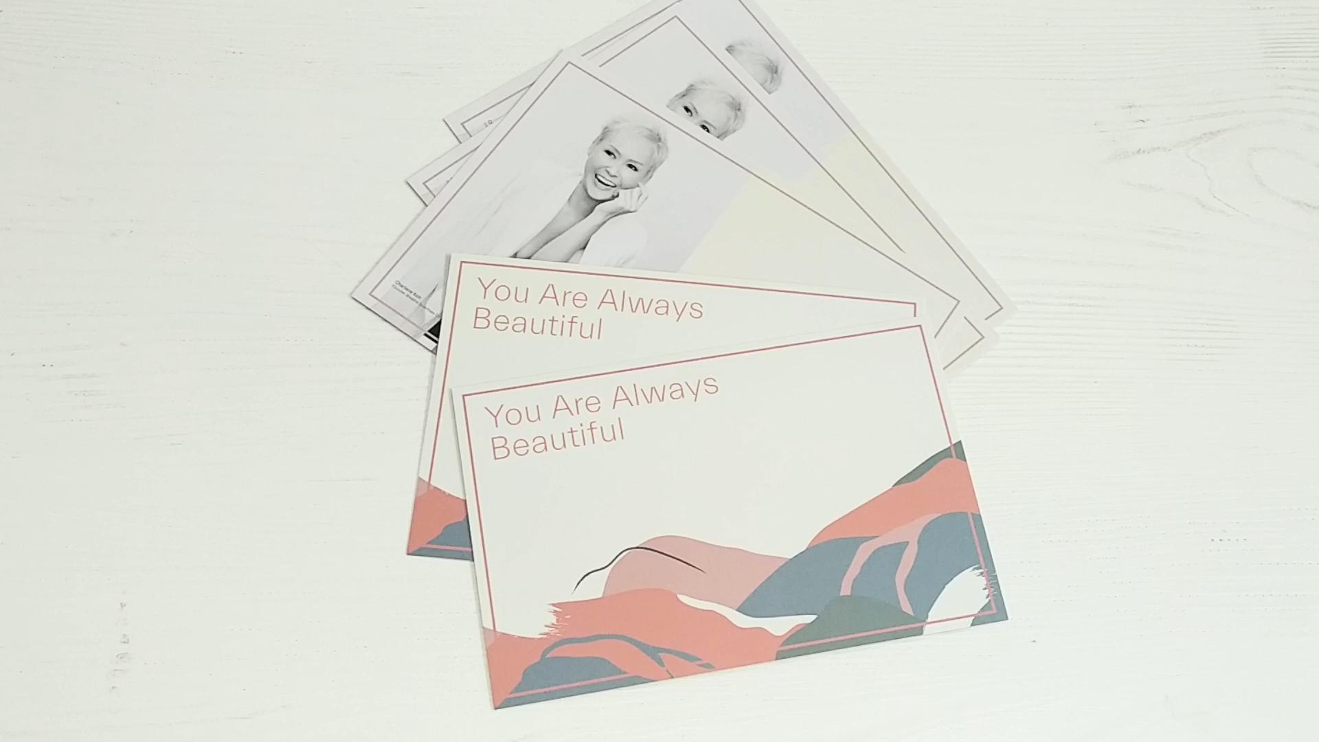 Custom impressão em papel cartão de saudação cartão postal cartão de agradecimento com envelope para o casamento ou a promoção
