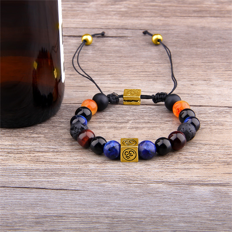 Wholesale Spritual Handmade Jewelry Adjustable Natural Stone Braiding Bracelet Reiki Healing Yoga Energy Stone Bracelet