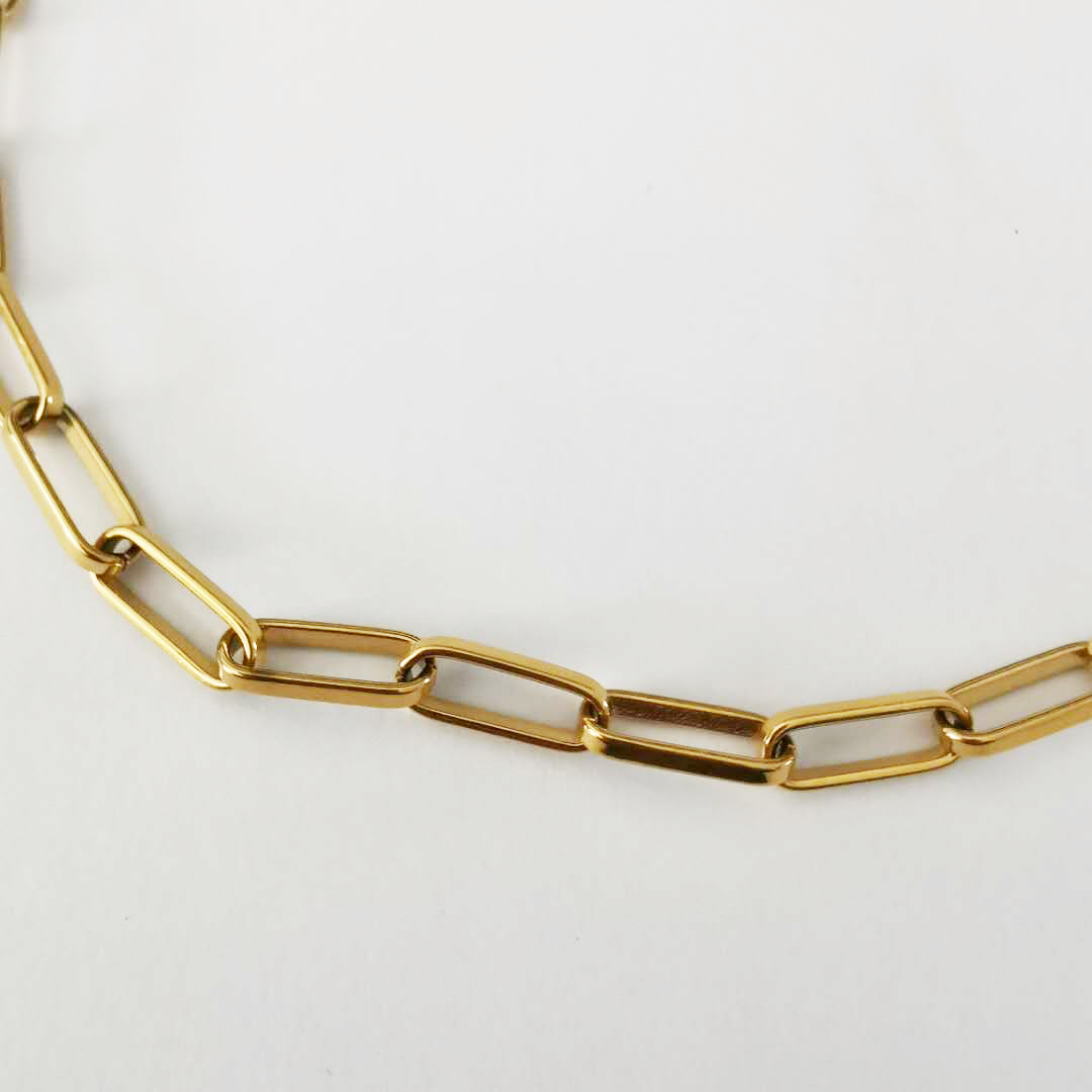 Stainless Steel 2020 Popular Girls Gold Plated Link Chain Necklace Layered Long Rectangle Box Chain Paperclip Choker Necklace