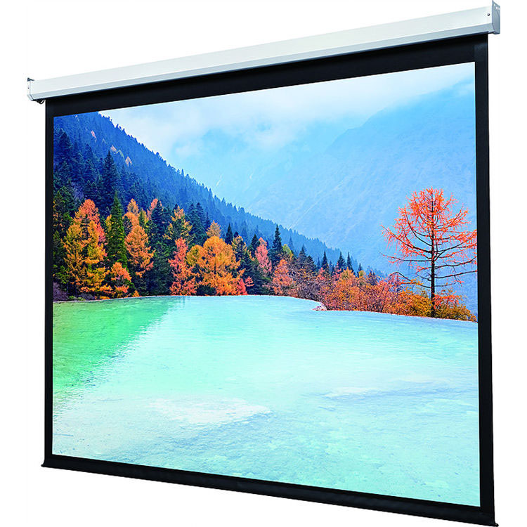 Ceiling Recessed mount Motorized Projection Screen, Matte White Fabric, 92inch