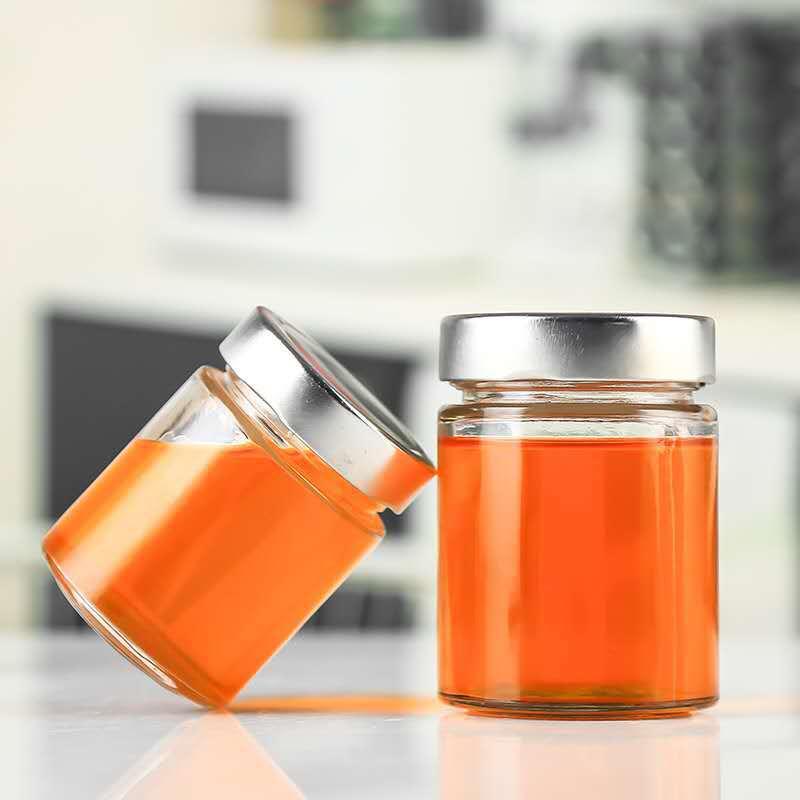 Food grade honig glas marmelade/pudding jar mit schraube metall deckel mit holz abdeckung
