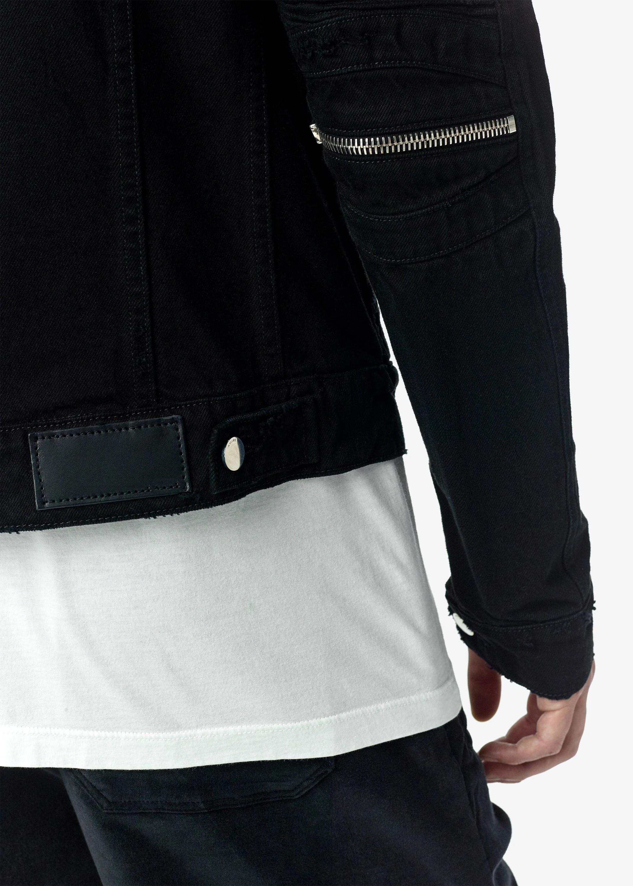 OEM men motorcycle design zipper black denim jeans jacket
