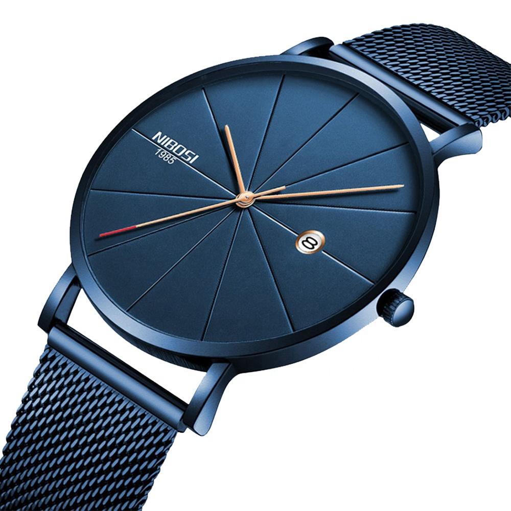 NIBOSI 2321 Blue Stainless Steel Ultra Thin Watches Men Classic Quartz Watches Luxury Date Men's Wrist Watch Relogio Masculino
