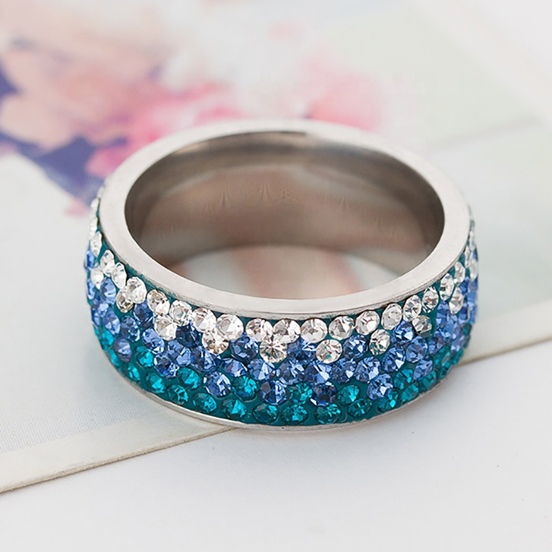 product-BEYALY-Popular Stainless Steel Diamond Ring, Ornaments Progressive Blue Color Ring-img-1