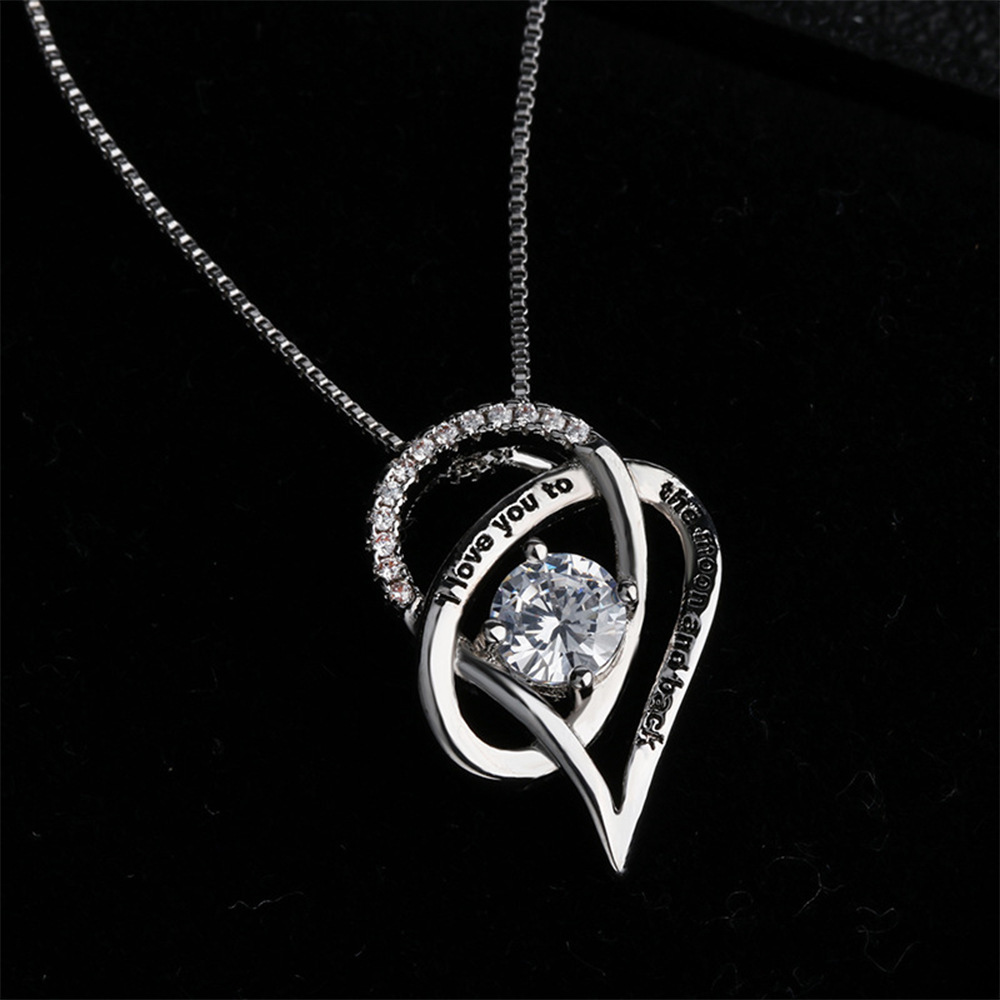 Q683 Gioielli Sterling Silver I Love You to The Moon and Back Del Cuore di Amore Cubic Zirconia Collane Del Pendente