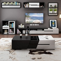 Nordic simple modern small apartment retractable storage coffee table TV cabinet living room furniture combination