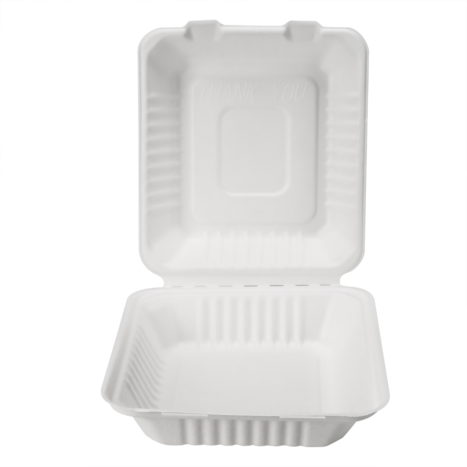 8'' 9'' Biodegradable Eco Friendly Sugarcane Bagasse Tableware Clamshell Food Box