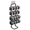 Adjustable single sided metal display stand 4 tiers light duty display stand with hooks and 4 colors for customized