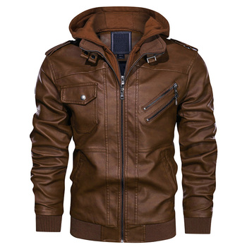 Hotsale Fashion Designed Leather Jacket For Men, Coffee Brown Black Casual Jackets OEM Manufacture Cargo Hoodie Wholesale