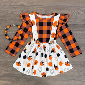 2019 beautiful fall and spring baby dress boutique children outfits Halloween girls clothing 2pcs sets